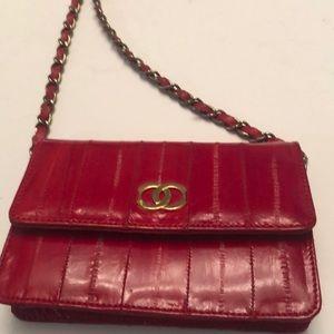 Vintage red eel skin mini handbag